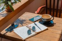a copy book, sunglasses, and a cup of coffee on the table